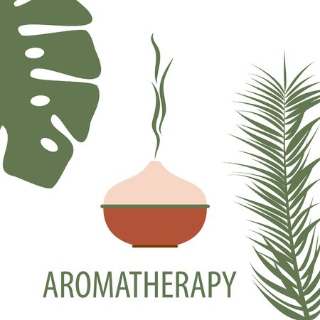 aromatherapy diffuser with tropical aroma, palm leaves on a white background, vector illustration for spa salon