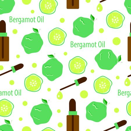 seamless pattern with bergamot and essential oil in bottles, aromatherapy vector illustration for massage and spa salon on white background