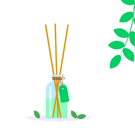 incense sticks in diffuser, aromatherapy for spa salon, vector illustration with green castings on a white background