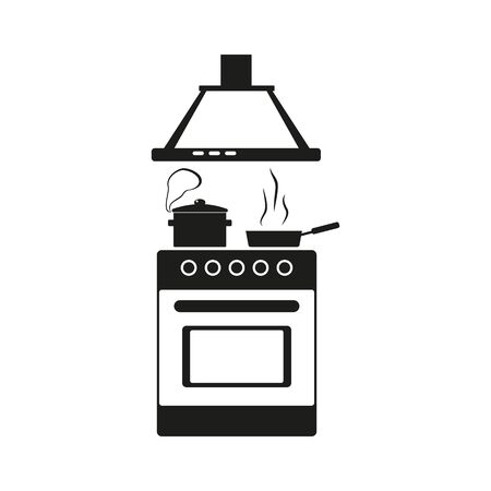 kitchen stove icon, boiling pot and frying pan on the stove, preparing food, flat outline style vector illustration