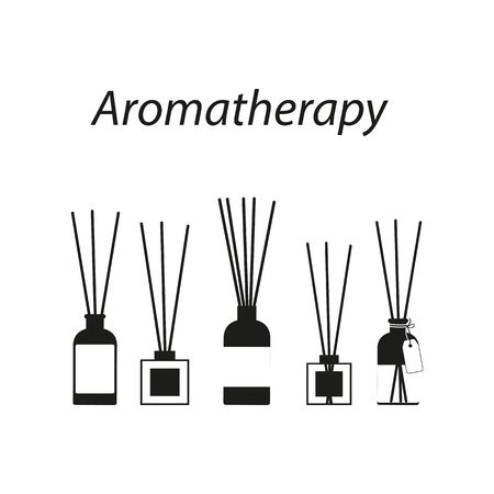 aromatherapy sticks in a glass bottle, vector set of black diffuser icons on white background Illustration
