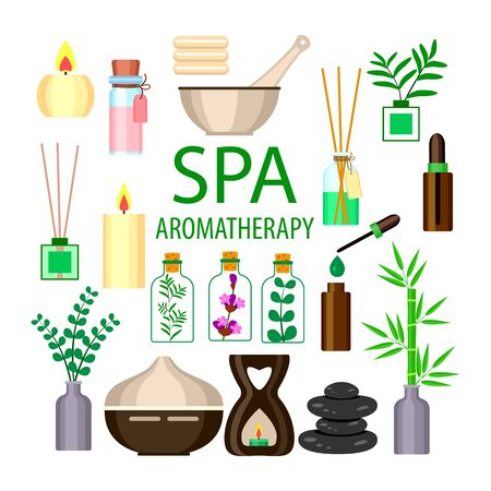 set for aromatherapy and massage spa, diffuser and candles and stones on a white background, vector illustration for beauty salon Иллюстрация