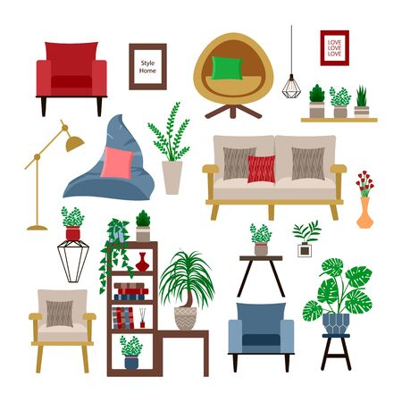 set for interior chairs in Scandinavian and retro style. home plants and furniture on a white background, vector illustration