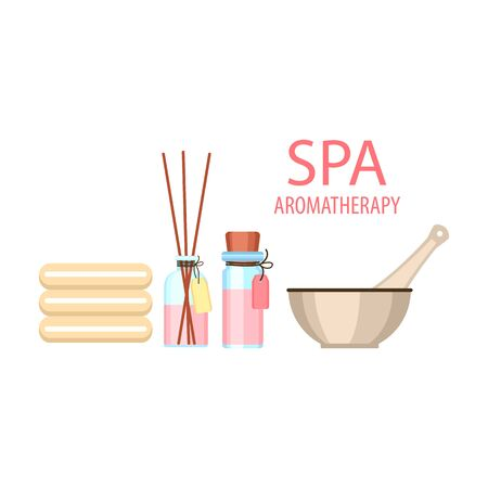 set for aromatherapy and spa salon, diffuser with aroma sticks and towels and mortar with pestle on a white background, vector illustration