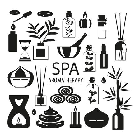 set for aromatherapy and spa massage, diffuser and candles and stones on a white background, vector icons with black fill for beauty salon