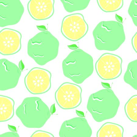 green bergamot and slices seamless pattern, vector illustration of citrus fruits, in a flat style on a white background