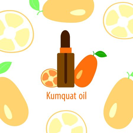 orange kumquat essential oil, a bottle of dropper and citrus fruit on a white background, vector illustration in a flat style Иллюстрация