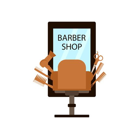 logo for a hairdresser. chair and mirror with tools, hairdryer scissors and comb on a white background, vector illustration