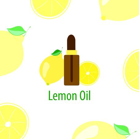 lemon essential oil, a bottle with a dropper and citrus fruits on a white background, vector illustration in a flat style Ilustração