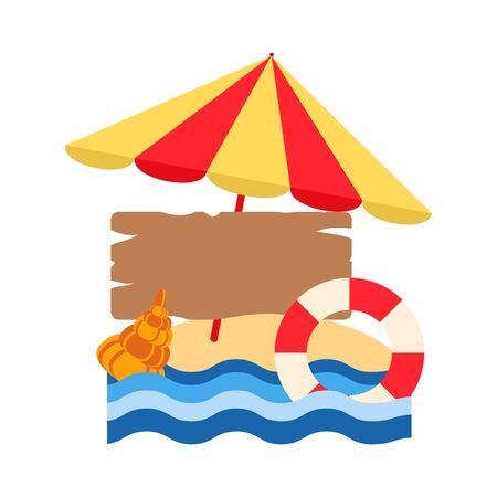 beach umbrella and life buoy on yellow sand, vector illustration summer holiday, wooden board on a white background Çizim
