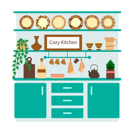 turquoise kitchen in a flat style with utensils, a houseplant and a vase and plates on the kitchen shelves, vector illustration on a white background Illustration