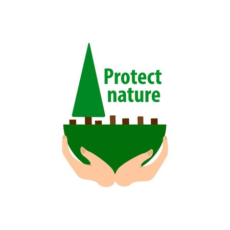 protecting nature from deforestation, concept green tree in hand, vector illustration isolated on white background Иллюстрация