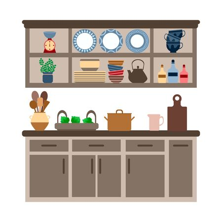 brown kitchen furniture set with utensils, cutting board and teapot and plates on the kitchen shelves, vector illustration on a white background