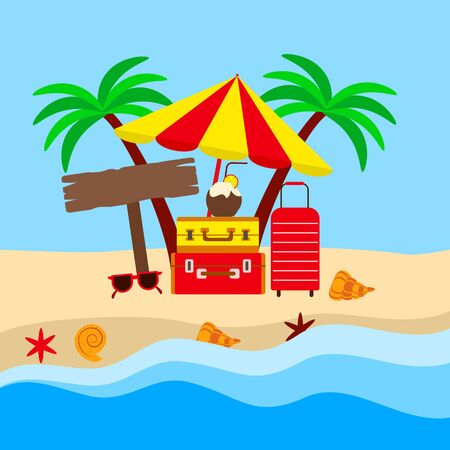 the concept of a tropical vacation, bright bags and beach umbrella on the yellow sand, vector illustration with sunglasses and shell and cocktail Illustration