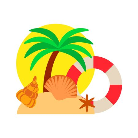 tropical island concept with palm tree and life buoy on the sand, beach vacation vector illustration