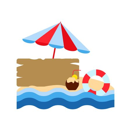 beach umbrella and life buoy, sand island with a wooden board for writing on a white background, vector illustration