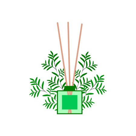 incense sticks in diffuser for spa salon and home, vector illustration with eucalyptus branches on a white background Ilustração