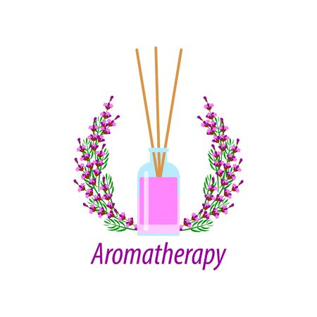 incense sticks in a diffuser, flower aromatherapy for spa salon and home, vector illustration with a bouquet of lavender on a white background Illustration