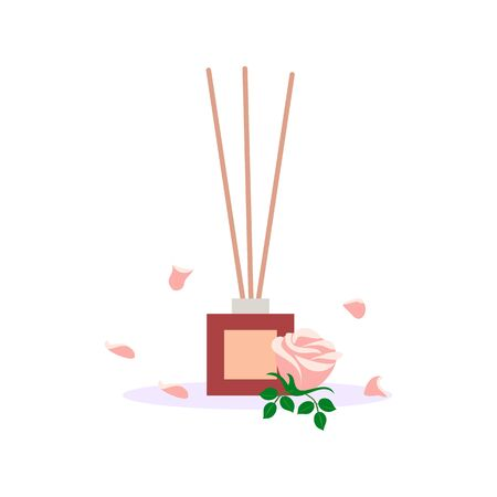 incense sticks in a diffuser, flower aromatherapy for spa salon and home, vector illustration with rose flower on a white background