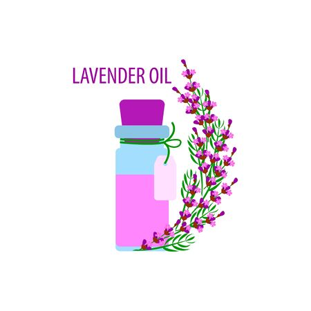 aromatherapy, lavender essential oil in a bottle with a label, vector illustration with a bouquet of lavender on a white background in flat style Çizim