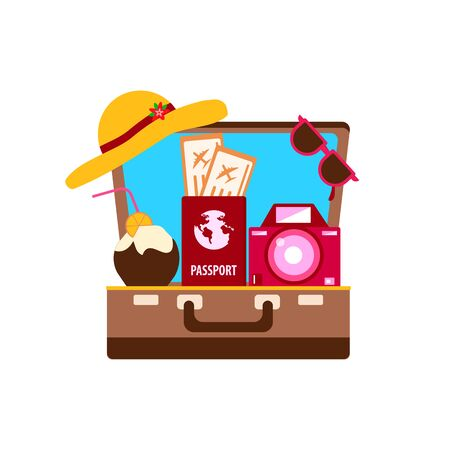 travel and leisure concept, beach hat and camera and passport with tickets in a suitcase, vector illustration isolated on white background