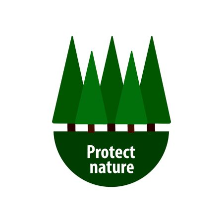 nature protection from deforestation, green pine trees on a white background, vector illustration Çizim