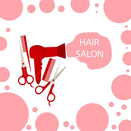 red hair dryer comb and scissors on a white background, vector illustration Standard-Bild - 132246968