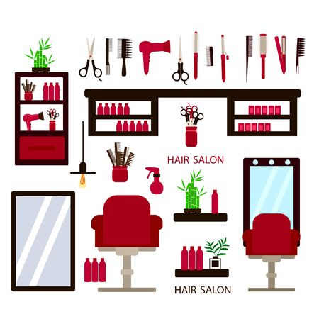 a set of furniture and accessories for a hairdresser, a chair and a mirror and a hairdryer and scissors on a white background, vector illustration Illustration