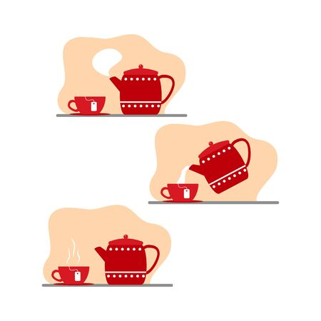 tea time, preparing a fragrant drink, red teapot and cup, vector illustration in a flat style