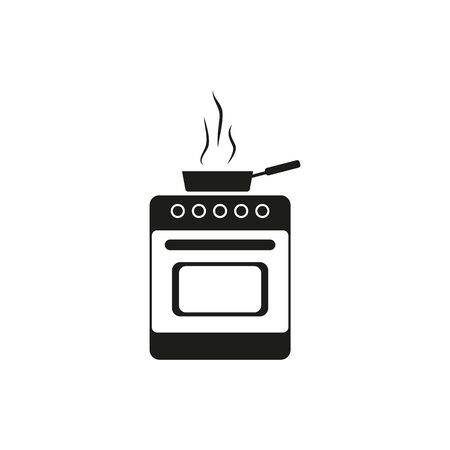 kitchen stove and pan icon, cooking, vector illustration