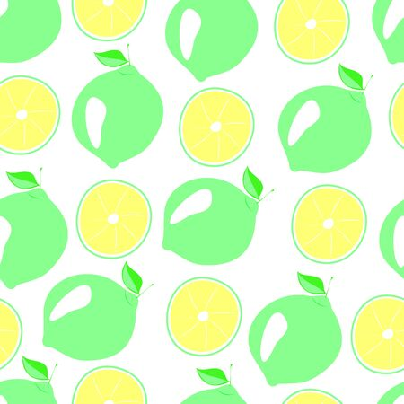 lime green and slices seamless pattern, vector illustration of citrus fruit, in a flat style on a white background Çizim