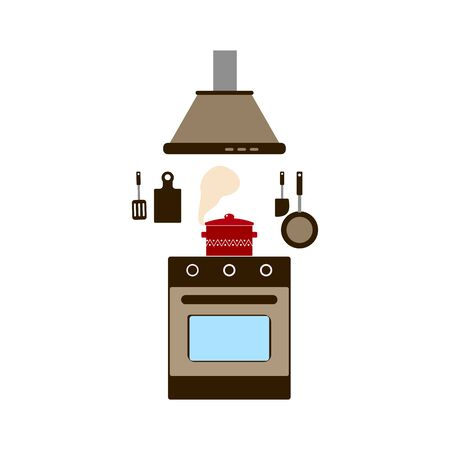 gas stove and range hood, red pan on the stove, cooking, flat style vector illustration