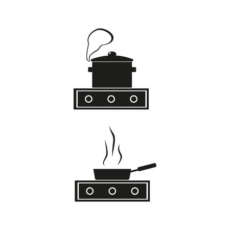 kitchen stove and pan icon, cooking, vector illustration with black fill on a white background Imagens - 133299680