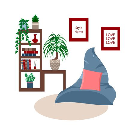 Scandinavian style living room interior, blue armchair and cupboard with indoor plants, vector illustration