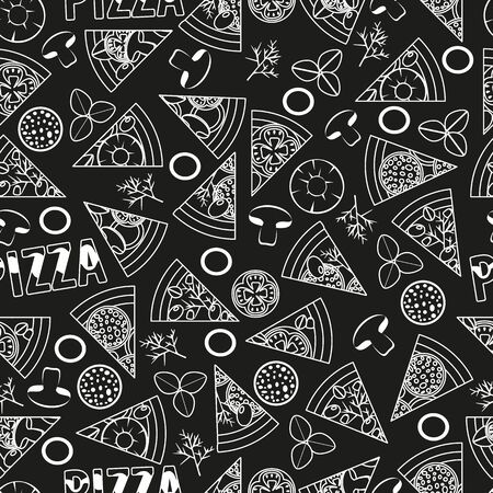 seamless pattern with slices of pizza, fast food vector with cheese and mushrooms and sausage, chalk board style illustration Zdjęcie Seryjne - 133299686