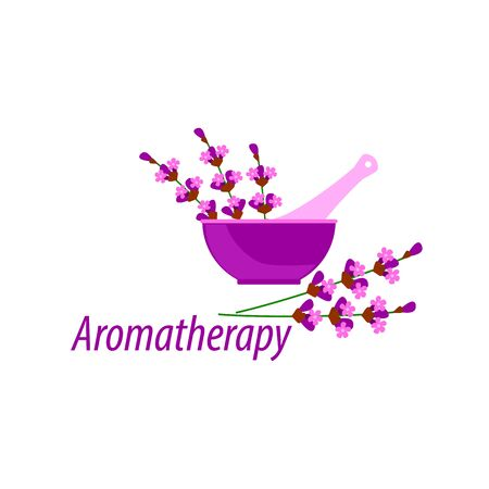 lilac pestle and mortar with lavender flowers for aromatherapy spa, vector illustration on a white background Çizim