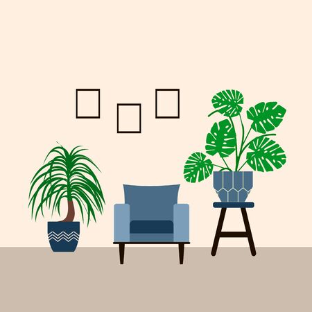 Scandinavian style living room interior with indoor plants, blue retro armchair and coffee table on a white background, vector illustration