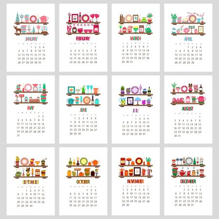 2020 calendar, cozy kitchen shelves with dishes and decor, colored cups and plates and teapot on a white background, vector illustration in flat style