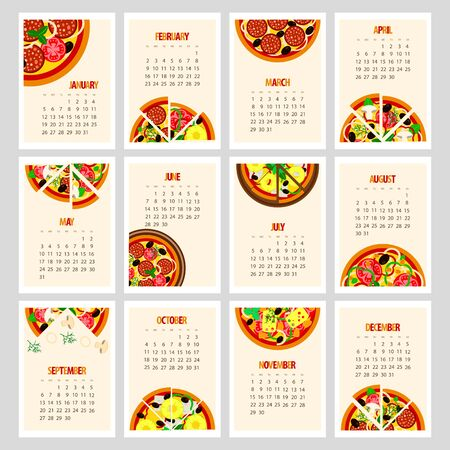 Tasty 2020 calendar for pizzeria, set of pizzas with various ingredients on a white