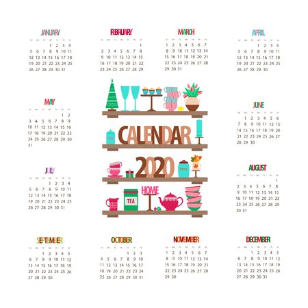 2020 calendar, kitchen shelf with utensils and decor, pink tea cups and teapot on a white background, vector illustration with Christmas tree and a vase of flowers Ilustração