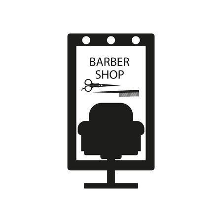 Chair and mirror for a hair salon, scissors and a comb with a black fill on a white background, vector illustration