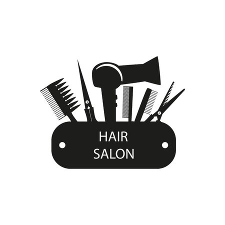 set for a barber shop with black shading, a hairdryer and combs and scissors on a white background, vector illustration  and advertising