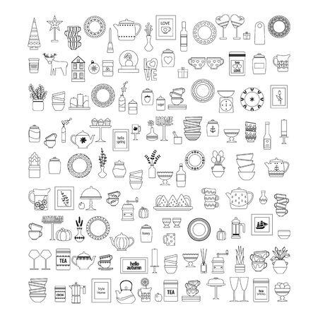 large set of decor and kitchen utensils, contour teapot and plates and cups on a white background, vector illustration in a flat style coloring book