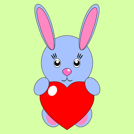 Magnificent simple light blue rabbit with a heart on a green background