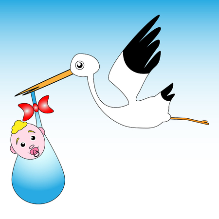 Magnificent stork design with small child on heavenly background