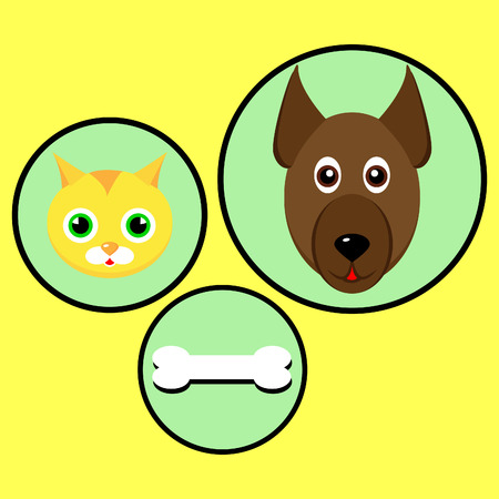 Great design for dog and cat and delicious bones. Illustration