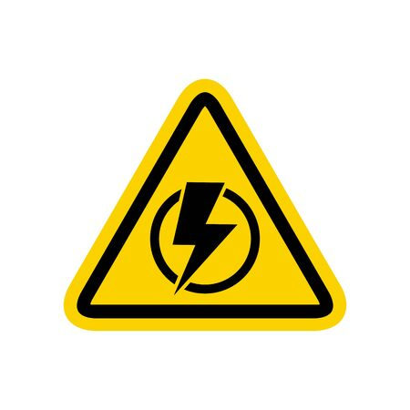 Triangular icon of electricity isolated on the white background