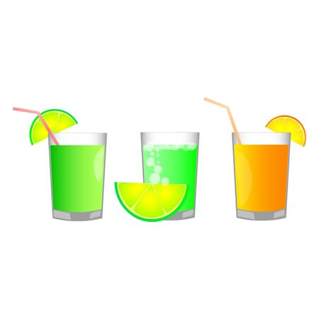 Set of three fruits cocktails isolated on the white background