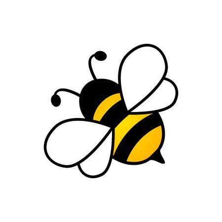 Encantador diseño simple de una ilustración de vector de abeja amarilla y negra sobre un fondo blanco