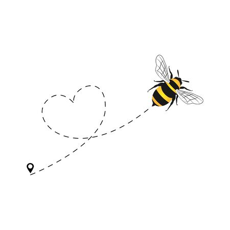 Bee flying on a dotted route heart isolated on the white background